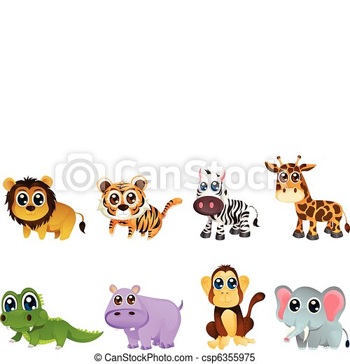 Wildlife animal cartoons - csp6355975