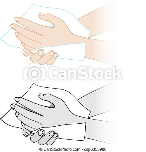 Hands with a napkin - csp6355988
