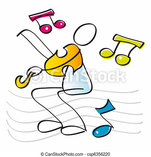 funny violinist playing the violin - csp6356220
