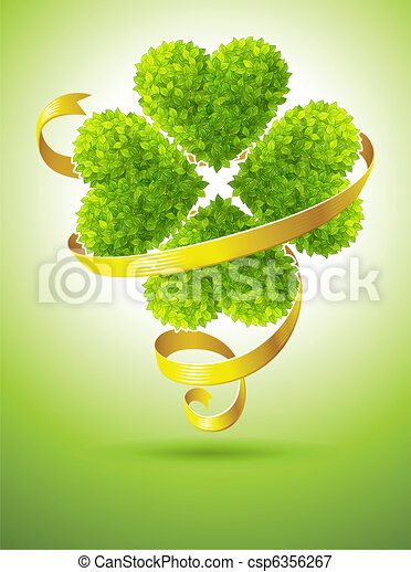 lucky clover and ribbon for saint Patrick's day - csp6356267