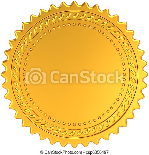 Golden award medal blank seal - csp6356497