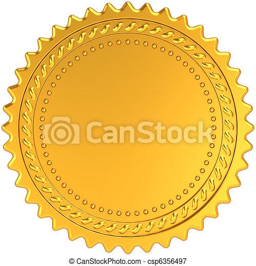 Golden award medal blank seal - csp6356497