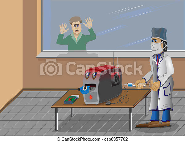 The computer is sick, a doctor cure - csp6357702