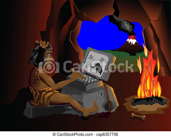 The computer even know cavemen sit - csp6357706