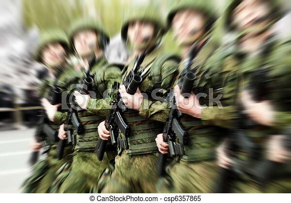 Military uniform soldier row - csp6357865