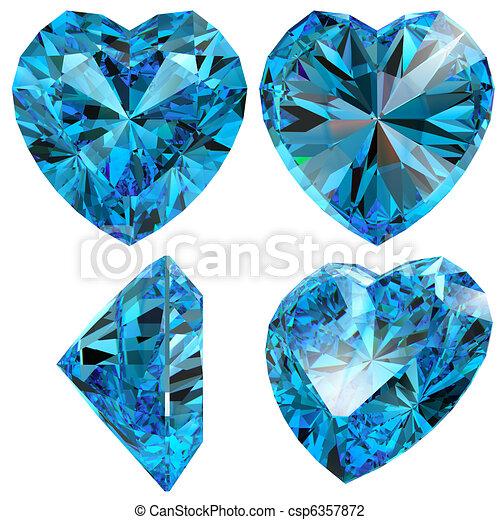 bleu, coeur, diamant, coupure, gemme, isolé - csp6357872