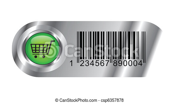 Buy button with bar code and basket - csp6357878