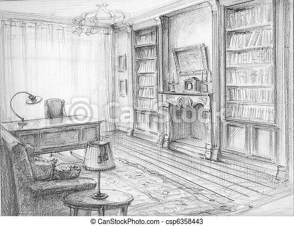 Stock foto 39 s van schets kabinet de interieur schets for Interieur kabinet