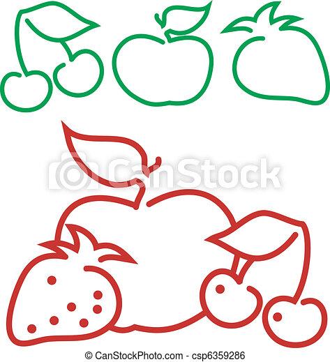 Clipart vettoriali di frutta contorno animated mela - Contorno di immagini di frutta ...