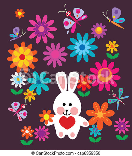 colorful spring flowers and easter bunny - csp6359350