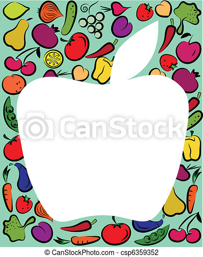 apple on fruit and vegtables template - csp6359352