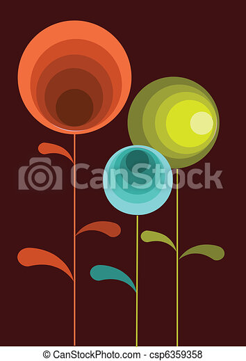 colorful card of springtime flowers - csp6359358