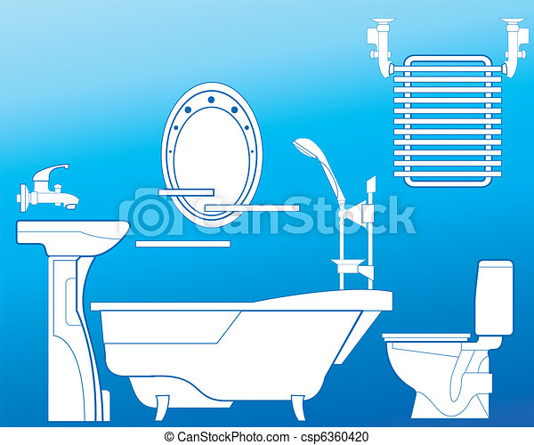 vektor clipart von blaues badezimmer bathroom mit bad dusche sch ssel csp6360420. Black Bedroom Furniture Sets. Home Design Ideas