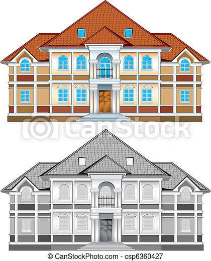 Drawing of country residence - csp6360427