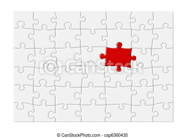 Blank Jigsaw Puzzle with Red Piece - XL - csp6360435