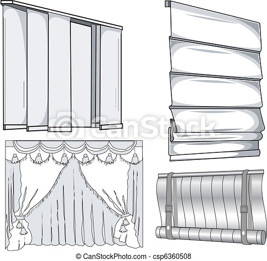 Vector Of Curtains Jalousie Horizontal And Vertical
