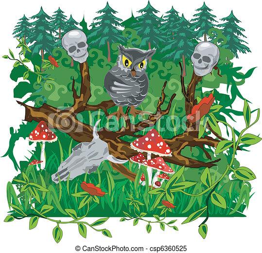 Owl, animated illustration - csp6360525