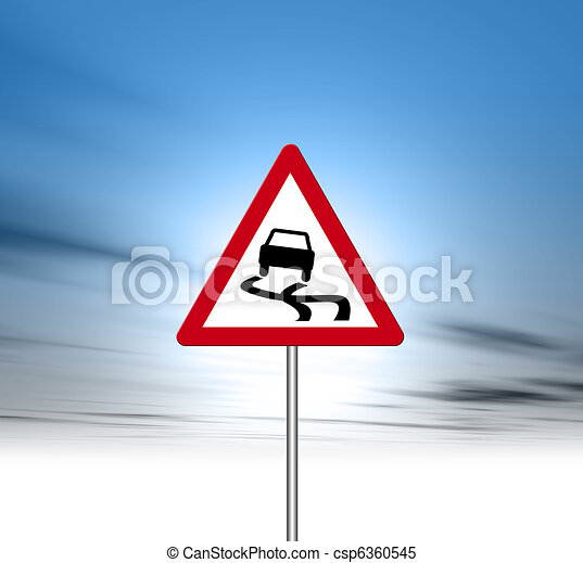 Slippery road signpost - csp6360545