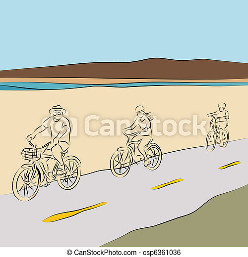 Family Riding Bicycles On The Beach - csp6361036