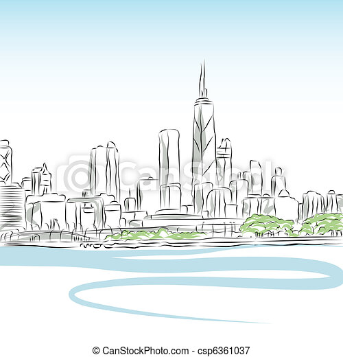 Chicago Cityscape Line Drawing - csp6361037