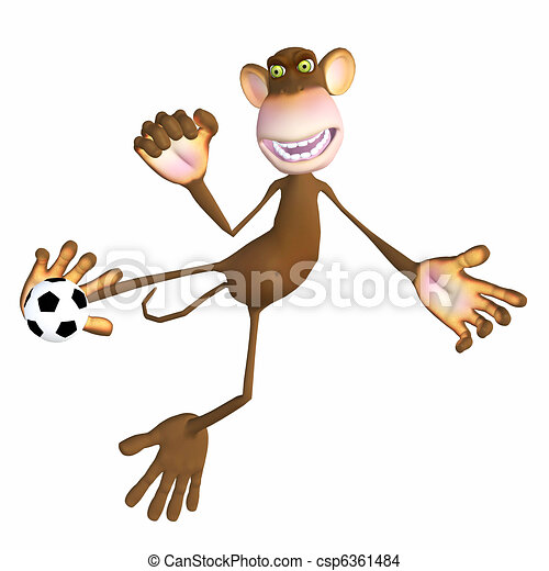 Monkey playing with a soccer ball - csp6361484