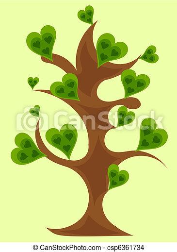 Fantasy tree with green hearts vector - csp6361734