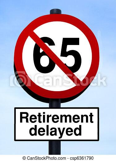 65 retirement warning roadsign - csp6361790