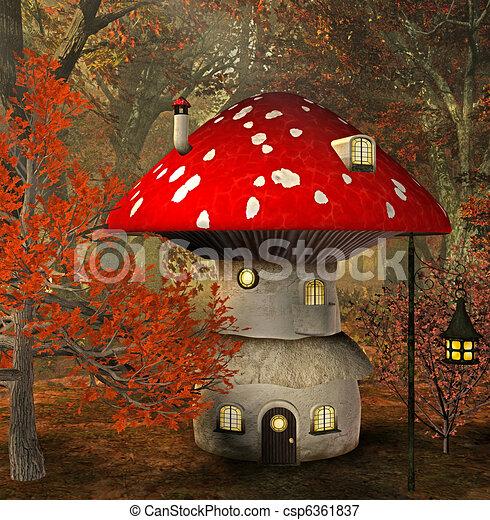 Illustrations de maison champignon 3d render for Champignon facade maison