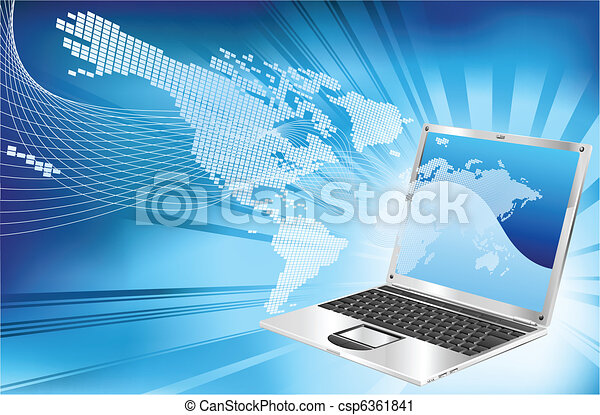 Laptop word map business background - csp6361841