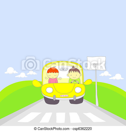 Cute cartoon couple traveling by ca - csp6362220