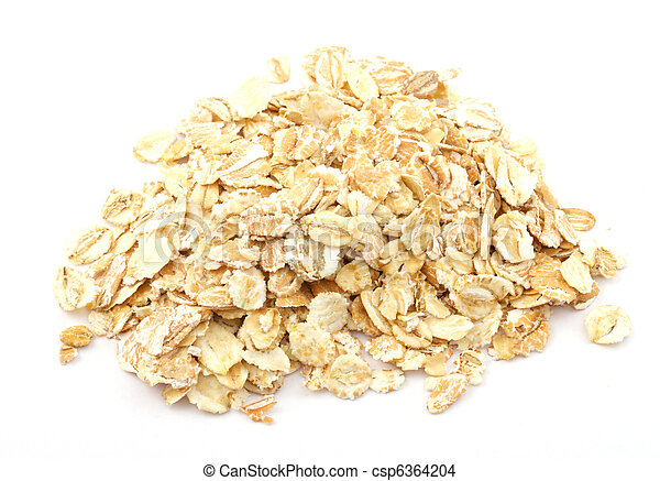 Heap of dry rolled oats isolated - csp6364204