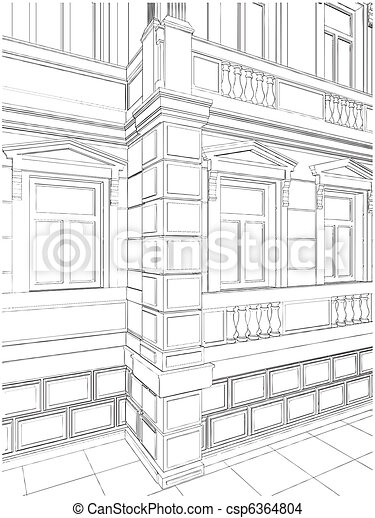 Building Corner Residential House - csp6364804