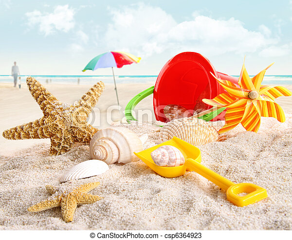Children's beach toys at the beach - csp6364923