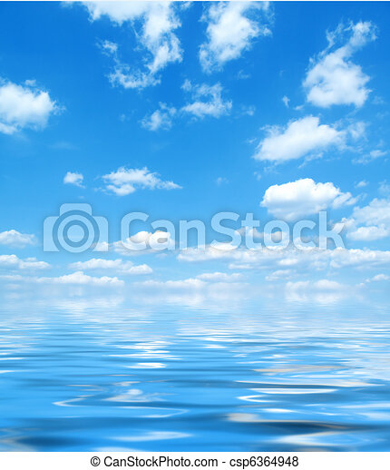 Blue sky with water reflection - csp6364948