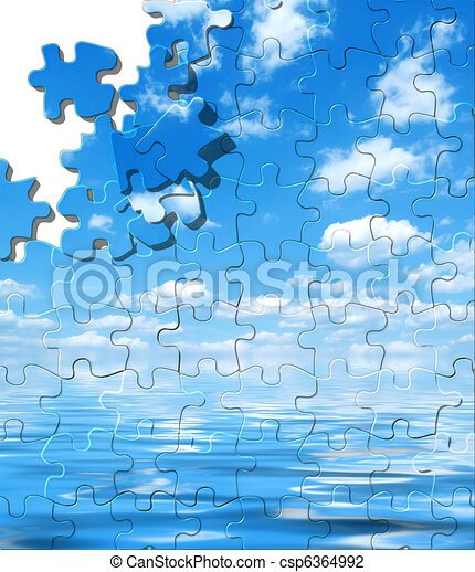 Blue sky with water reflection puzzle - csp6364992