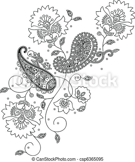 Kashmir henna design fashion - csp6365095