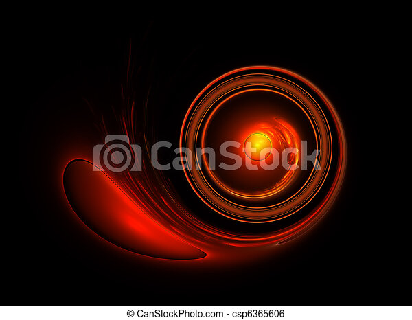 fiery circular motion on black background - csp6365606