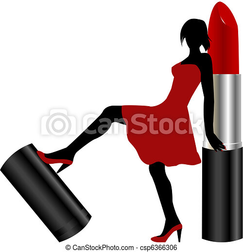Sexy woman with red lipstick - csp6366306