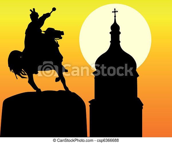 Khmelnytsky monument and tower of the church in Kiev  - csp6366688
