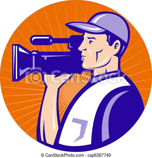 cameraman film crew shooting - csp6367749