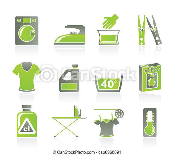 Washing machine and laundry icons  - csp6368091
