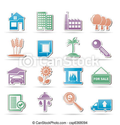 Real Estate and building icons - csp6368094