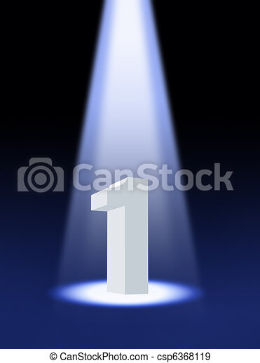 3d number one under spotlight - csp6368119