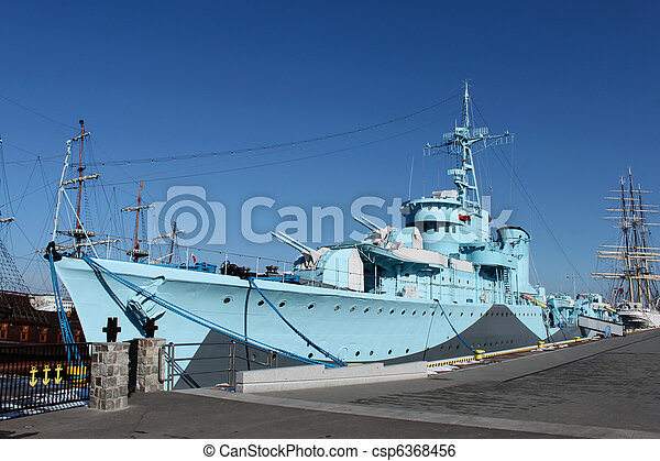 Old warship from second world war - csp6368456