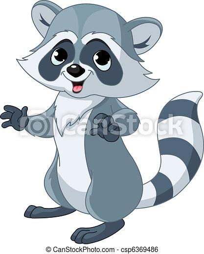 Funny cartoon raccoon - csp6369486