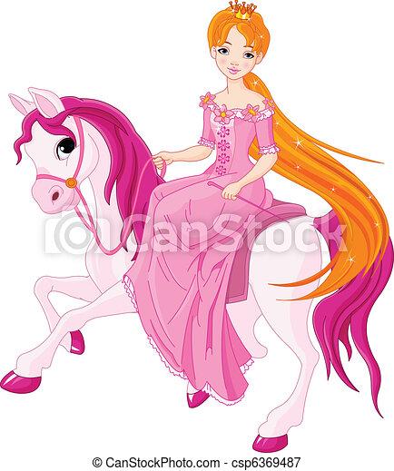 Princess riding horse - csp6369487