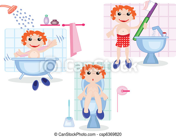Vektor clipart von junge in der badezimmer csp6369820 for Badezimmer clipart