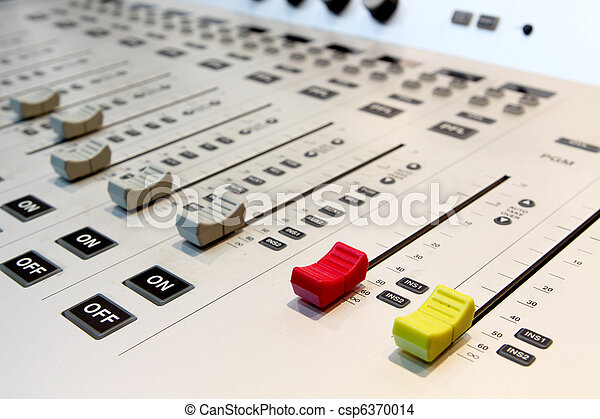 Sound mixer, low angle shot with shallow DOF, useful for various music and sound themes - csp6370014