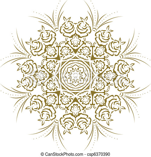 Stencil Mandala Indian Design - csp6370390
