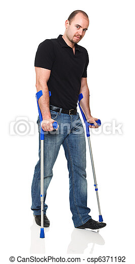 man with crutch - csp6371192